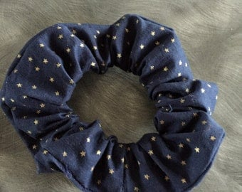 Patriotic hair scrunchie navy with gold stars