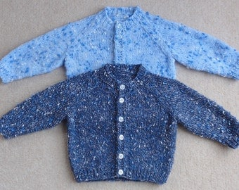 Raglan Sleeved Baby Cardigan - Hand Knitted in a choice of colours and sizes.