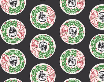 Skeleton Head Wreath print in Green by Echo Park Paper Co- Andover cotton fabric