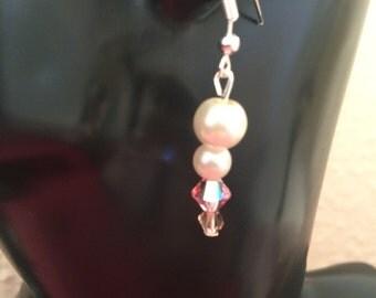 Pink Swarovski elements earrings, Pearl dangle earrings,Swarovksi Jewellery,dangle earrings, drop earrings item #095 by CraftyLittleMonkeyGB