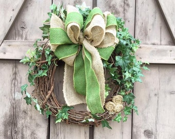 Wreath, burlap