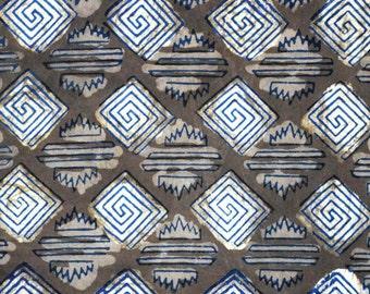 Beige Creative Sanganeri Block Print Cotton Fabric