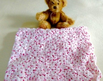 "Hand-crocheted baby blanket speckled pink granny squares 32"" x 28"""