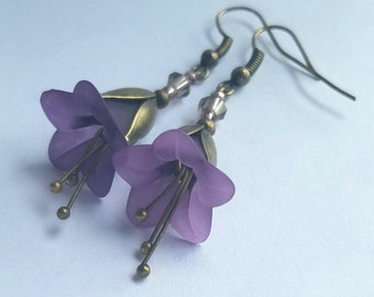 Deep Purple and bronze earrings