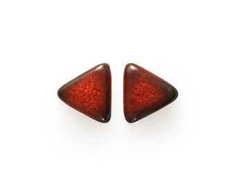 Ceramic Red Lava Triangle Cabochons 2 pieces