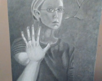 This was a self portrait project in my college art class. It turned a tad dark and moody.