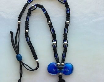 Blue Fused Glass Necklace