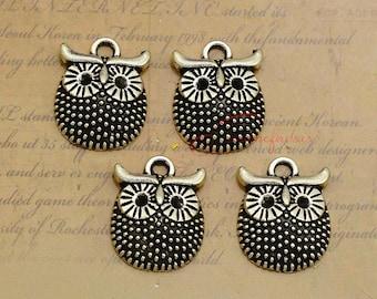40PCS--16x12mm ,Mini Owl Charms, Antique Silver Bird Wise Owl Charm pendant, DIY supplies,Jewelry Making LCM0105