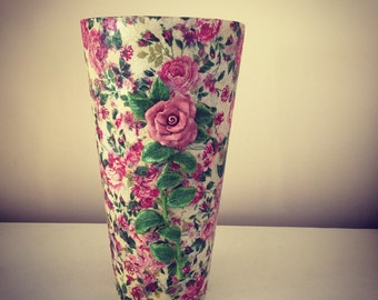 Hand crafted Decoupag vintage vase