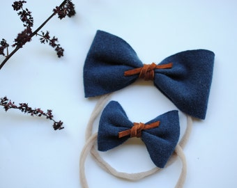 Navy raw edged bow headband