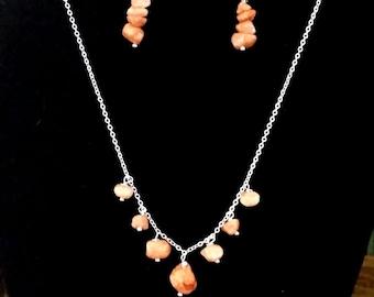 Peach Pebbles Necklace /Earring Set (P7)