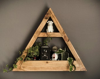 Wooden Triangle Wall Planter and Trinket shelf