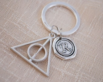 Deathly hallows keyring, Harry potter keyring, FREE SHIPPING, harry potter gift, initial keyring,  famous books, silver key chain