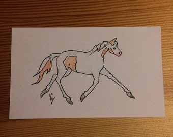 Notecard Colored Pencil Paint Horse Drawing