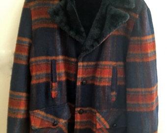 1960s Vintage Men's Blue Plaid Wool Coat