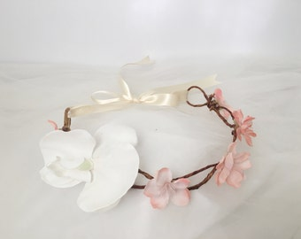 Pink cherry blossoms white orchid flower crown floral headband child adult wedding bride bridesmaid flower girl maternity photoshoot prop