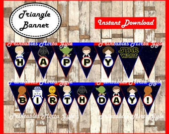 Star wars Banner, printable Star wars party Banner, Star wars baby triangle Banner