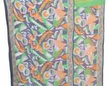 Indian Vinatge Sari Patchwork Kantha Quilt, Handmade Cotton Foral Kantha Bed-cover