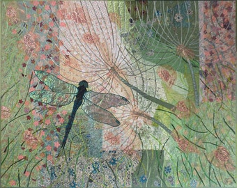 Quilt Art,Large Art Quilt,Textile Wallhanging,Fiber Picture,Nature,Summer Morning,Dragonfly in Grass,Flowers,Interior Design,Home Wall Decor