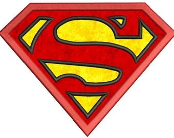 Superman Applique Machine Embroidery Design 3 sizes instant download