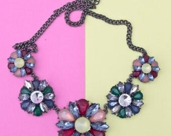 Large Multicoloured Flower Jeweled Vintage Necklace