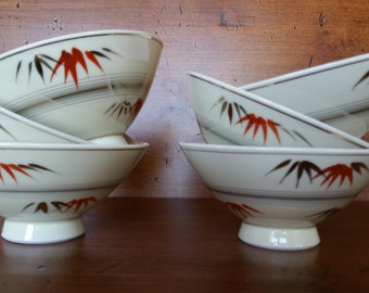 Six Vintage Asian Japaneese Modern Rice Bowls