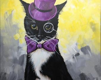 "Custom pet painting in acrylic 12""x12"", cat portrait"