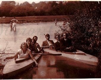 Vintage Photo - Friends Photo - Summer - River - Canoe - Best Friends - Vintage Snapshot - Polish Photo - Prewar Photo - Prewar Poland