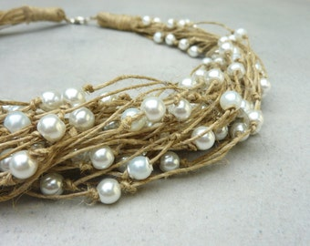Wedding Linen Jewelry Linen Necklace with Pearls One of a Kind Linen with Pearls Necklace Spring & Summer