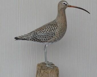 Eurasian curlew / Numenius arquata - carving birds - handmade sculpture - wood carving bird - shorebirds sculpture