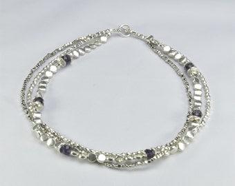 Silver & Violet Jewel Necklace- 0024