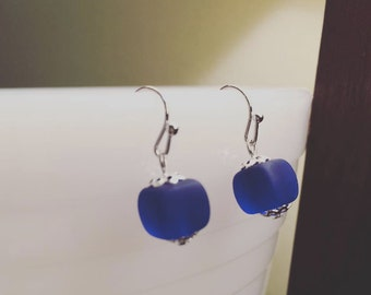 Handmade Dark Blue Sea Glass Earrings