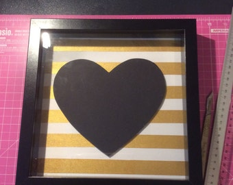 Gold and Black Heart papercut