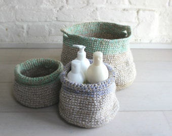 3 crocheted baskets