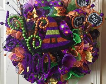 SALE***Wicked Witch Wreath, Deco Mesh Wreath, Halloween Wreath, Halloween Decoration, Pre-Order
