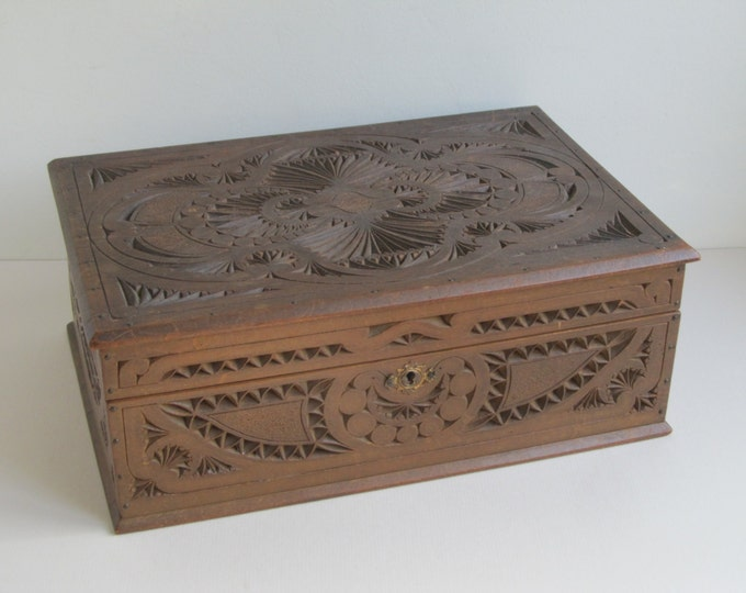 Large wooden box, Dutch chip carved folk art sewing box, table top chest, trinket box, jewellery storage, recipe storage, stowage holdall