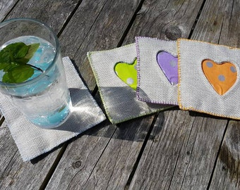 Fun and funky, reverse applique heart coasters - set of 4