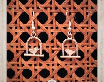 Bird earrings silver birds in cages BOA016