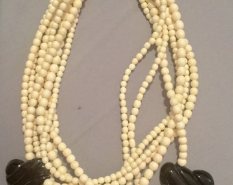Retro vintage gerda lynggaard necklace cream bone