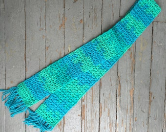 Blue/Green Ombre Fringe Scarf - FREE SHIPPING