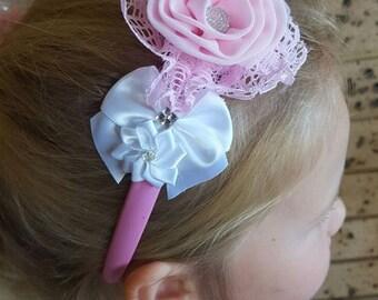 Cute Sweet Pink Headband, Bridesmaid, Flower Girl