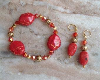 Beaded Handmade stretch bracelet and earrings