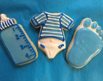 1 dozen Baby boy individually wrapped favor size cookies
