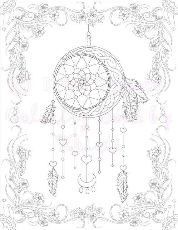 Adut Coloring Page Fantasy Art Dream Catcher Coloring Page