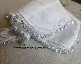 Silver sequined mandilia (handkerchief for dancing)