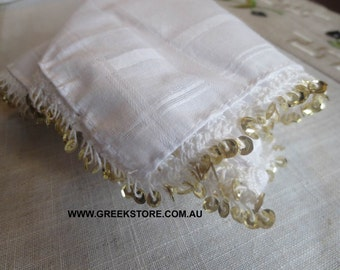 Gold sequined mandilia (handkerchief for dancing)