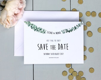 Rustic Wedding Save The Date Card, Watercolour Wedding Save The Date Invite, Leaf Garland Save The Date Card