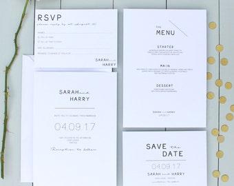 Wedding Invitation, Minimalist Wedding Invite, Simple Clean Wedding Invitation Suite