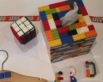 Lego multi coloured cube tissue box cover