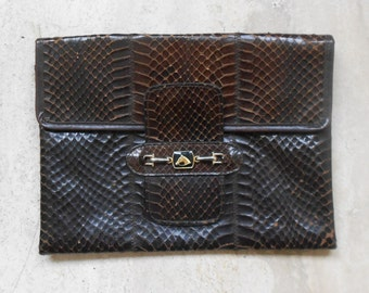 Cover chocolate reptile leather, vintage 60's